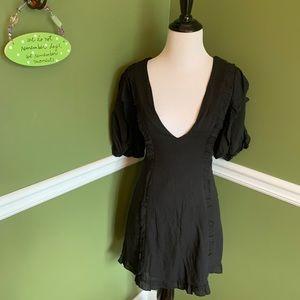 Shophopes black deep Vneck linen style dress